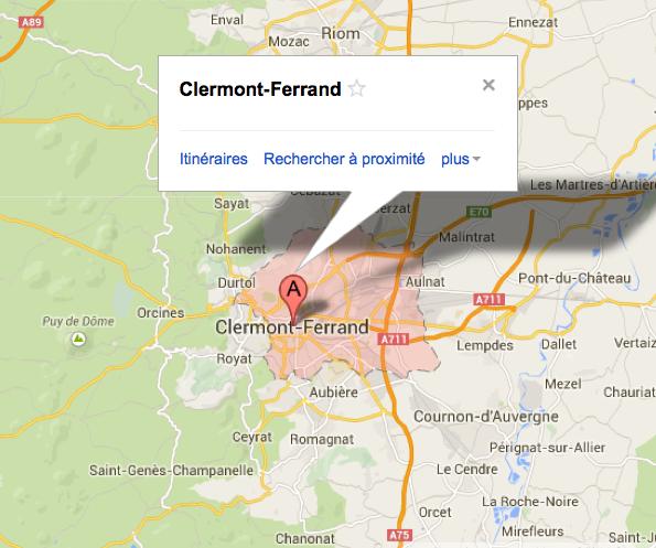 Carte de l'agglomération de Clermont-Ferrand